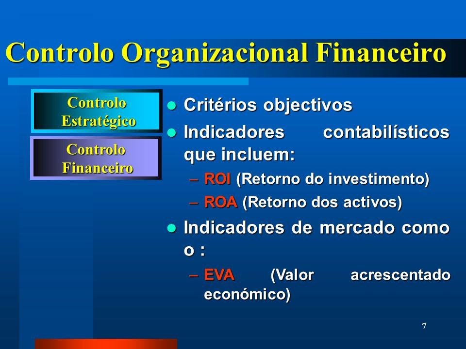 7 Controlo Financeiro Financeiro Controlo Organizacional Financeiro Critérios objectivos Critérios objectivos Indicadores contabilísticos que incluem: Indicadores contabilísticos que incluem: –ROI (Retorno do investimento) –ROA (Retorno dos activos) Indicadores de mercado como o : Indicadores de mercado como o : –EVA (Valor acrescentado económico) Controlo Estratégico Estratégico