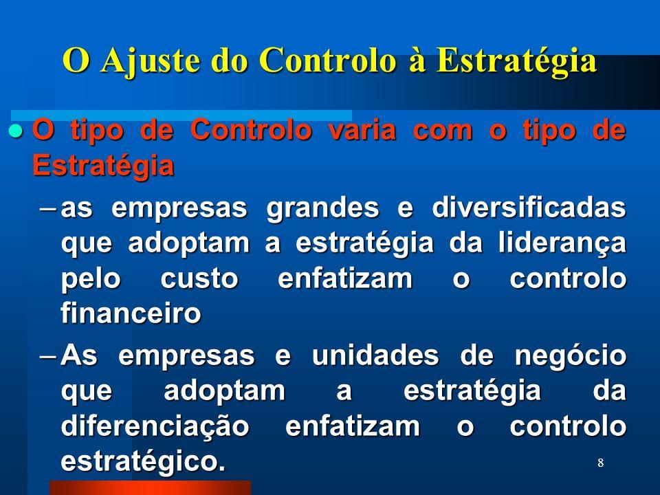 8 O Ajuste do Controlo à Estratégia O tipo de Controlo varia com o tipo de Estratégia O tipo de Controlo varia com o tipo de Estratégia –as empresas grandes e diversificadas que adoptam a estratégia da liderança pelo custo enfatizam o controlo financeiro –As empresas e unidades de negócio que adoptam a estratégia da diferenciação enfatizam o controlo estratégico.