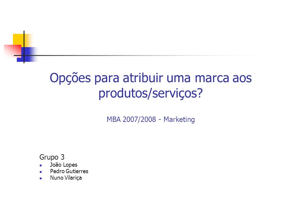Opções para atribuir uma marca aos produtos/serviços? MBA 2007/2008 - Marketing Grupo 3 João Lopes Pedro Gutierres Nuno Vilariça