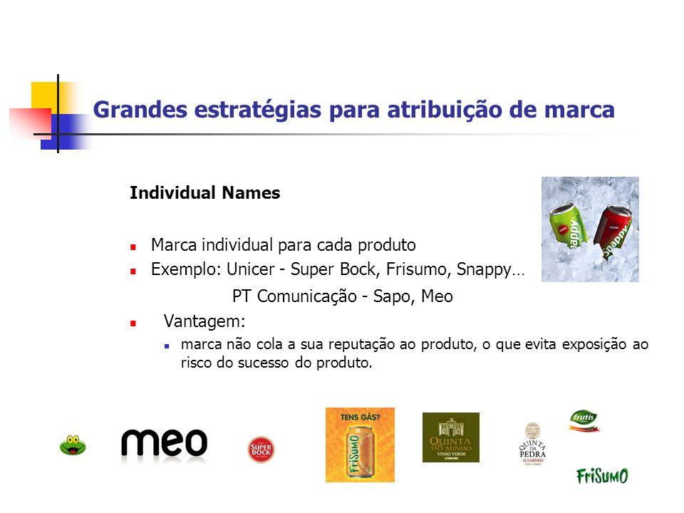 Grandes estratégias para atribuição de marca Blanket Family Names (Nomes familiares) Associação de todos produtos à marca mãe Exemplo: PT Pro, PT Comunicações, PT Inovação Vantagem: redução de custos em marketing e desenvolvimento de marca e reconhecimento imediato por parte do cliente