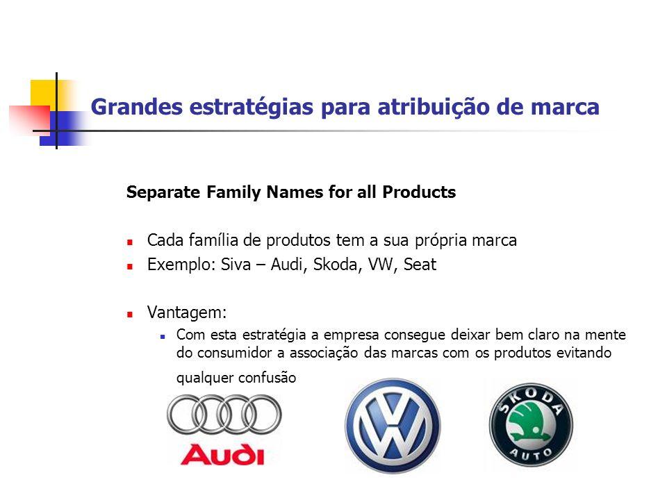 Grandes estratégias para atribuição de marca Separate Family Names for all Products Cada família de produtos tem a sua própria marca Exemplo: Siva – A