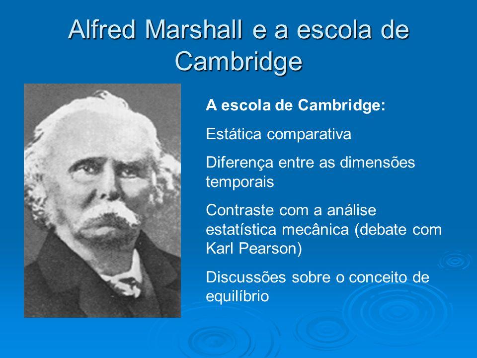 Alfred Marshall e a escola de Cambridge A escola de Cambridge: Estática comparativa Diferença entre as dimensões temporais Contraste com a análise est