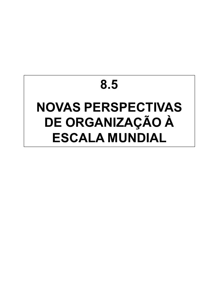 8.5 NOVAS PERSPECTIVAS DE ORGANIZAÇÃO À ESCALA MUNDIAL