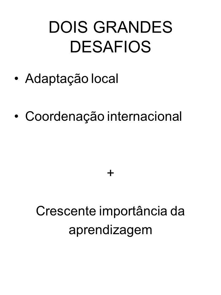 DOIS GRANDES DESAFIOS Adaptação local Coordenação internacional + Crescente importância da aprendizagem