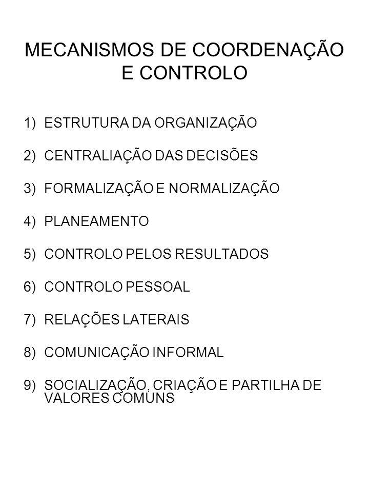 1)ESTRUTURA DA ORGANIZAÇÃO 2)CENTRALIAÇÃO DAS DECISÕES 3)FORMALIZAÇÃO E NORMALIZAÇÃO 4)PLANEAMENTO 5)CONTROLO PELOS RESULTADOS 6)CONTROLO PESSOAL 7)RE