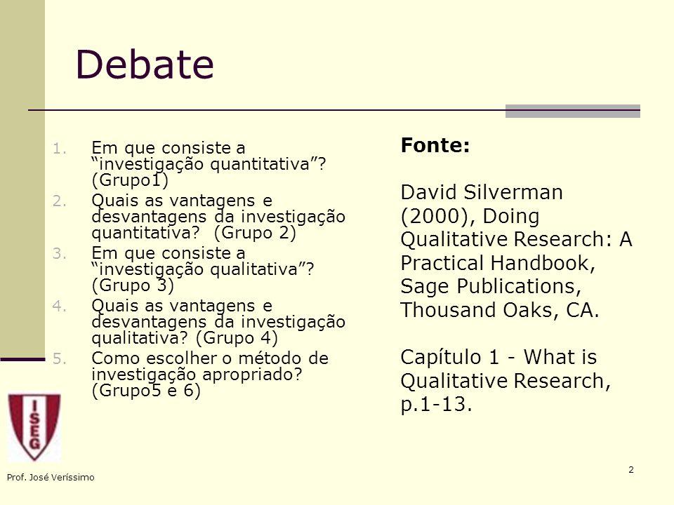 Prof. José Veríssimo 2 Debate 1. Em que consiste a investigação quantitativa? (Grupo1) 2. Quais as vantagens e desvantagens da investigação quantitati