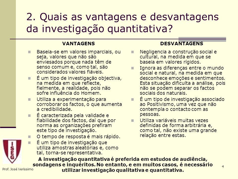 Prof. José Veríssimo 4 2. Quais as vantagens e desvantagens da investigação quantitativa? Negligencia a construção social e cultural, na medida em que
