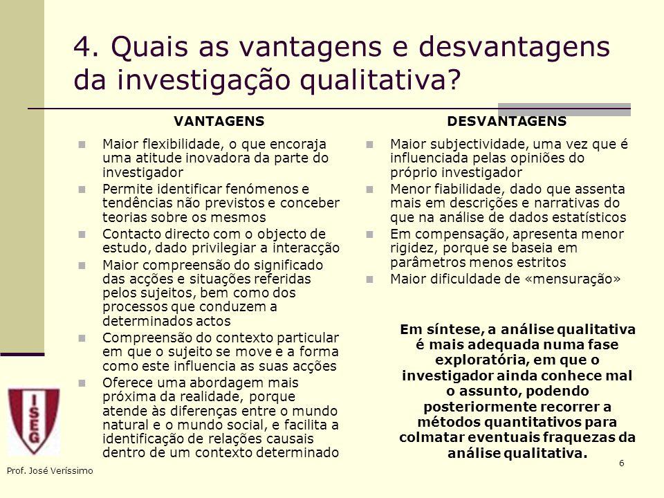 Prof. José Veríssimo 6 4. Quais as vantagens e desvantagens da investigação qualitativa? Maior subjectividade, uma vez que é influenciada pelas opiniõ