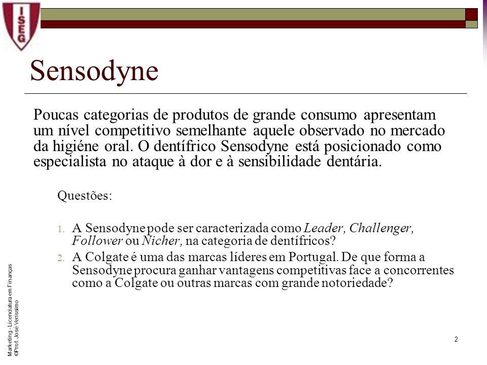 Marketing - Licenciatura em Finanças © Prof. José Veríssimo 1 Sensodyne A Sensodyne posiciona-se como o dentífrico apropriado para combater a dor e a