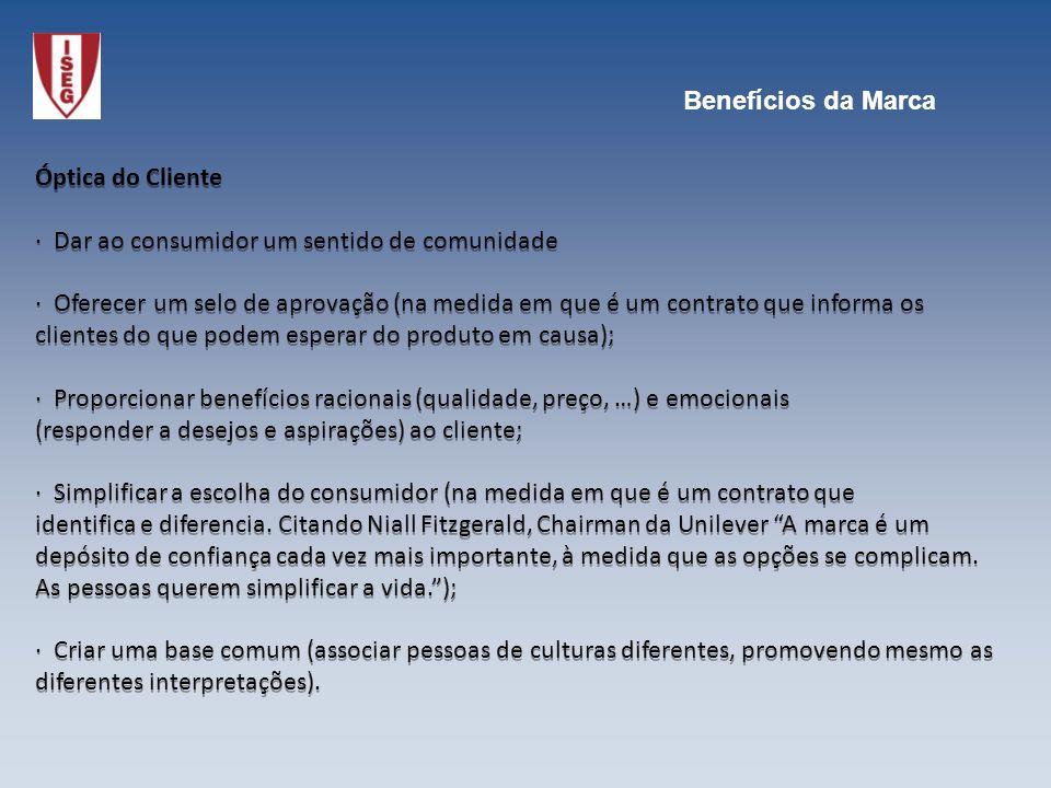 Óptica do Cliente · Dar ao consumidor um sentido de comunidade · Oferecer um selo de aprovação (na medida em que é um contrato que informa os clientes