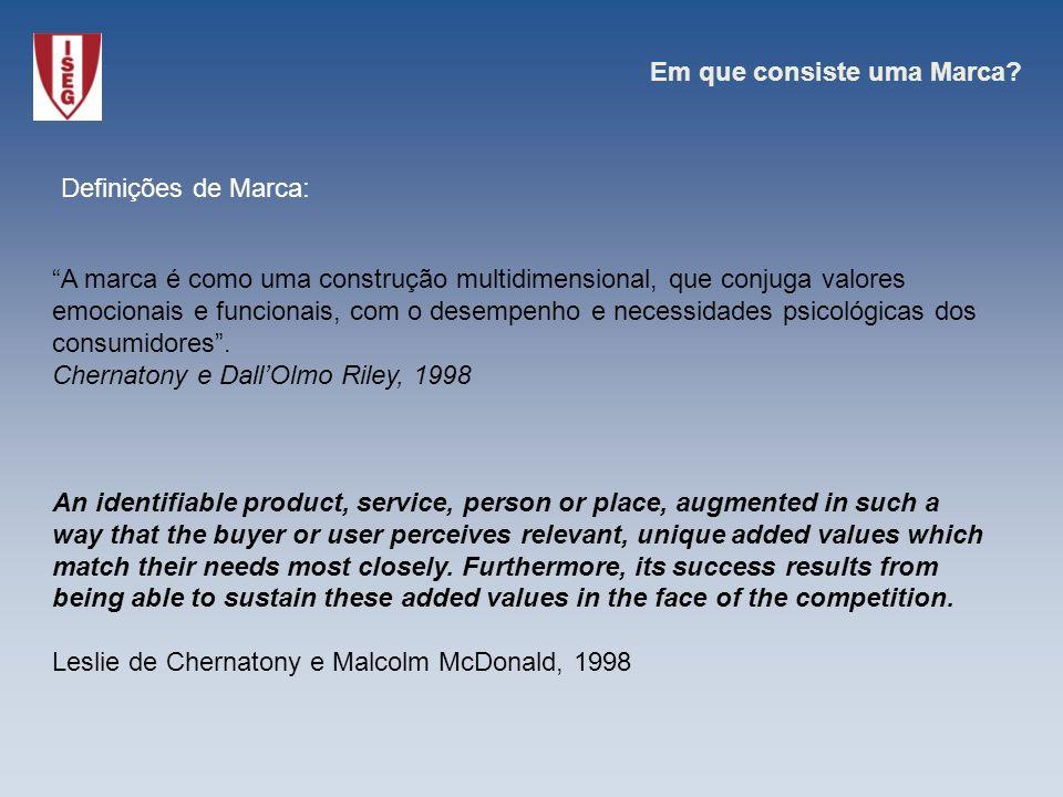 A marca é como uma construção multidimensional, que conjuga valores emocionais e funcionais, com o desempenho e necessidades psicológicas dos consumid