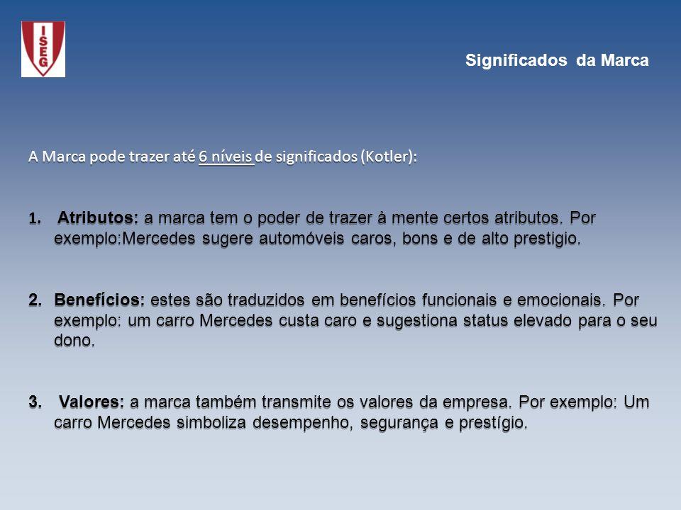 A Marca pode trazer até 6 níveis de significados (Kotler): 1. Atributos: a marca tem o poder de trazer à mente certos atributos. Por exemplo:Mercedes