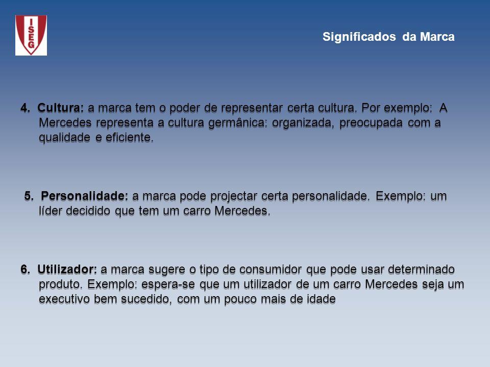 4. Cultura: a marca tem o poder de representar certa cultura. Por exemplo: A Mercedes representa a cultura germânica: organizada, preocupada com a qua