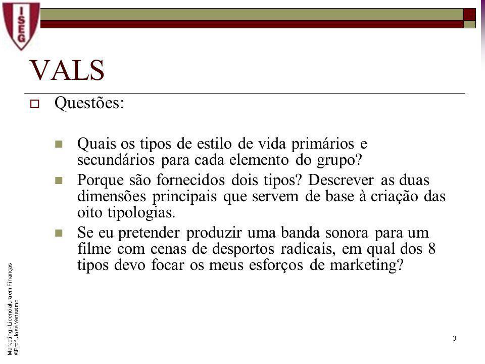 Marketing - Licenciatura em Finanças © Prof. José Veríssimo 2 De acordo com a consultora SRI Consulting Business Intelligence, a metodologia VALS expl