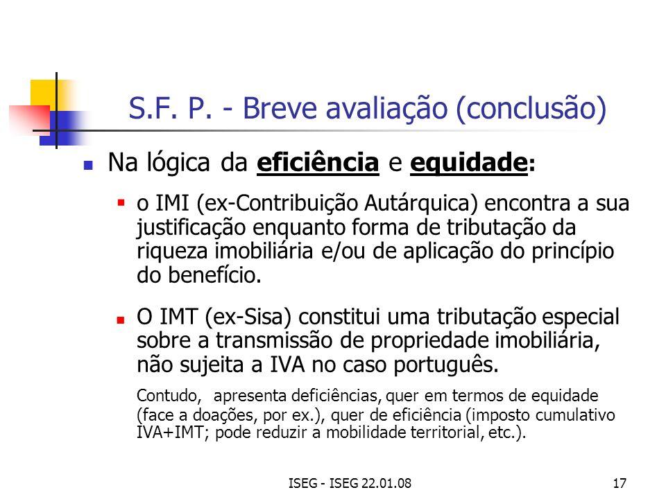 ISEG - ISEG 22.01.0817 Na lógica da eficiência e equidade : o IMI (ex-Contribuição Autárquica) encontra a sua justificação enquanto forma de tributaçã