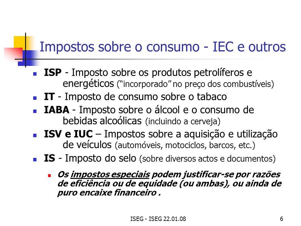ISEG - ISEG 22.01.086 Impostos sobre o consumo - IEC e outros ISP - Imposto sobre os produtos petrolíferos e energéticos (incorporado no preço dos com