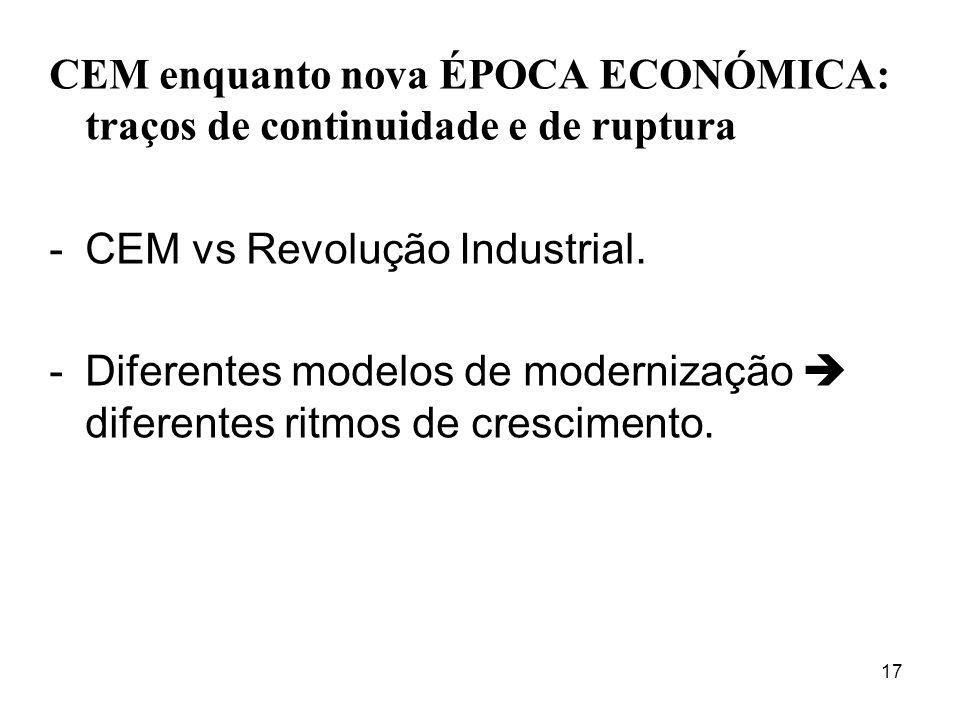 17 CEM enquanto nova ÉPOCA ECONÓMICA: traços de continuidade e de ruptura -CEM vs Revolução Industrial. -Diferentes modelos de modernização diferentes