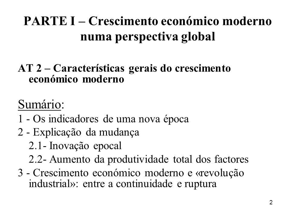 2 PARTE I – Crescimento económico moderno numa perspectiva global AT 2 – Características gerais do crescimento económico moderno Sumário: 1 - Os indic