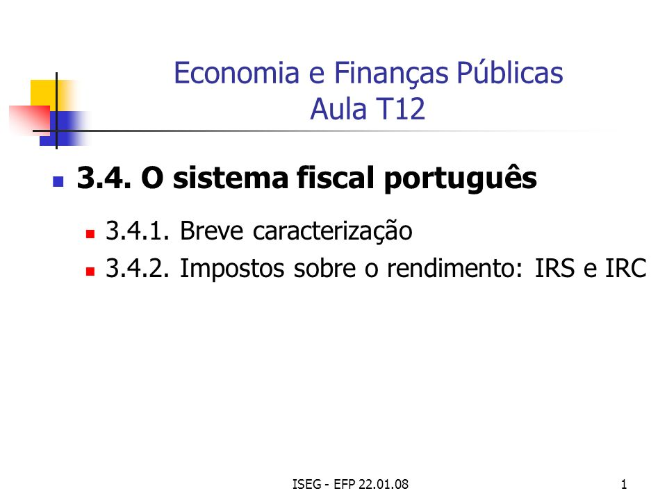 ISEG - EFP 22.01.0812 I.R. S.