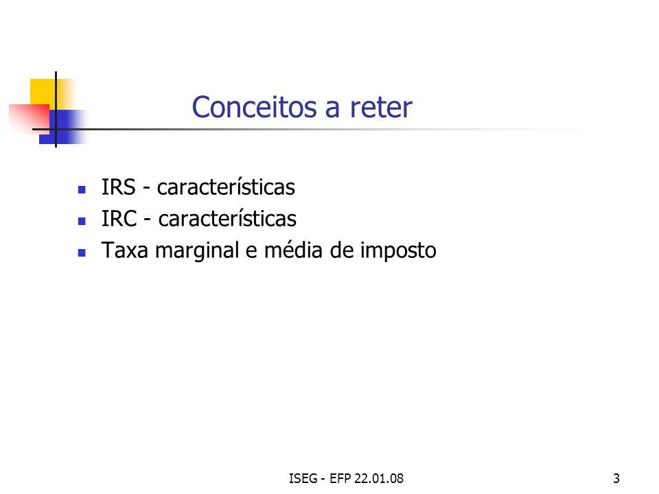ISEG - EFP 22.01.084 SFP - Principais tipos de Impostos Impostos sobre o rendimento IRS e IRC Impostos sobre a despesa Gerais sobre o consumo: IVA Específicos: I.S.P.; IABA; I.S.Veículos; I.U.Circulação; outros Impostos sobre o património Imposto Municipal sobre Imóveis - IMI (ex-Cont.