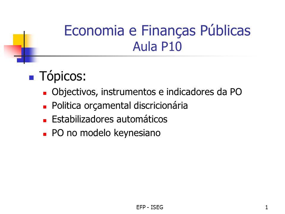 EFP - ISEG1 Economia e Finanças Públicas Aula P10 Tópicos: Objectivos, instrumentos e indicadores da PO Politica orçamental discricionária Estabilizad