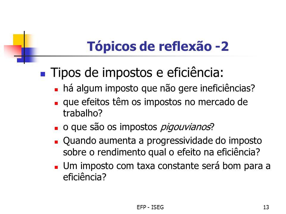 EFP - ISEG13 Tópicos de reflexão -2 Tipos de impostos e eficiência: há algum imposto que não gere ineficiências? que efeitos têm os impostos no mercad