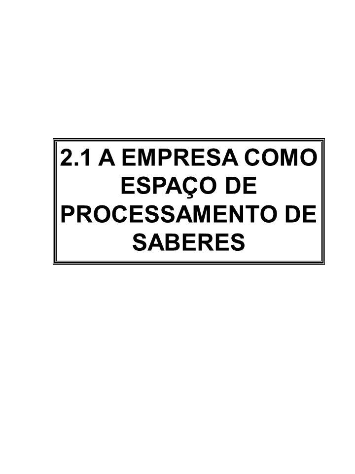 2.1 A EMPRESA COMO ESPAÇO DE PROCESSAMENTO DE SABERES