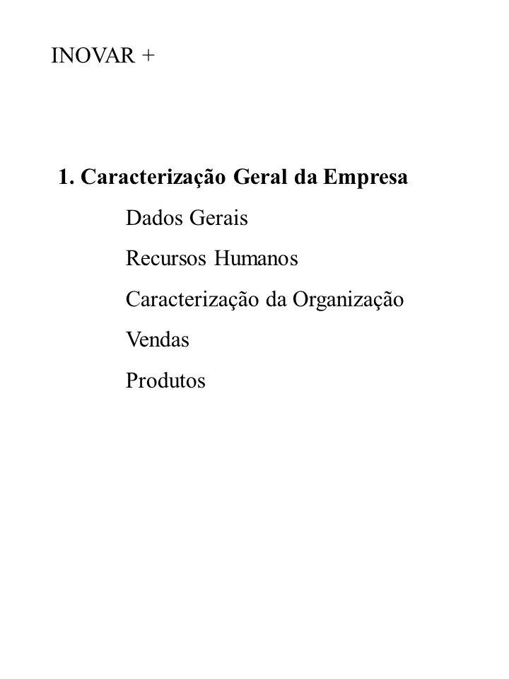 1. Caracterização Geral da Empresa Dados Gerais Recursos Humanos Caracterização da Organização Vendas Produtos INOVAR +