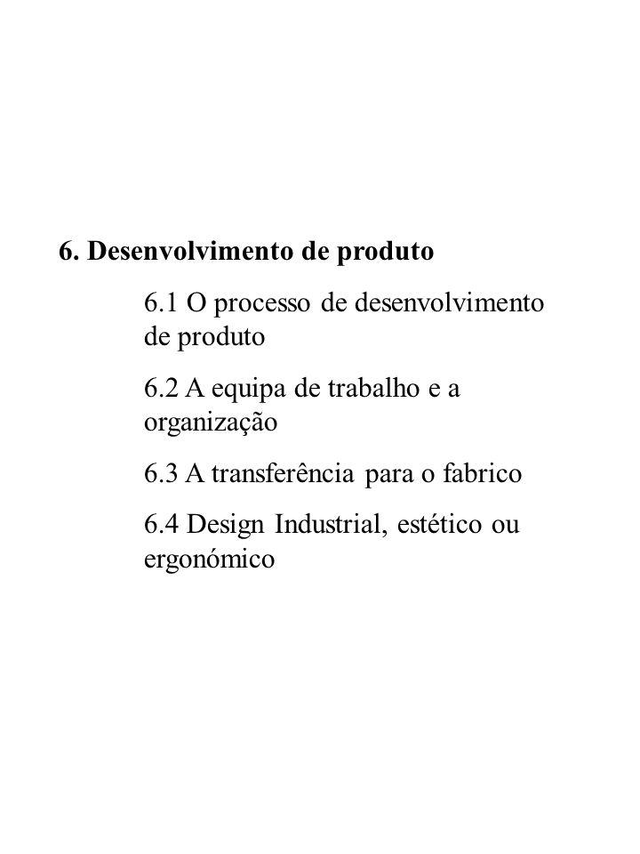 6. Desenvolvimento de produto 6.1 O processo de desenvolvimento de produto 6.2 A equipa de trabalho e a organização 6.3 A transferência para o fabrico