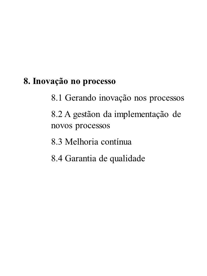 8. Inovação no processo 8.1 Gerando inovação nos processos 8.2 A gestãon da implementação de novos processos 8.3 Melhoria contínua 8.4 Garantia de qua