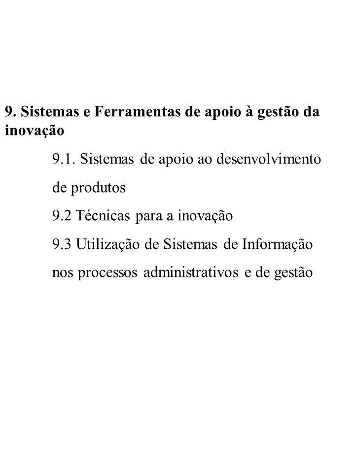 9. Sistemas e Ferramentas de apoio à gestão da inovação 9.1. Sistemas de apoio ao desenvolvimento de produtos 9.2 Técnicas para a inovação 9.3 Utiliza