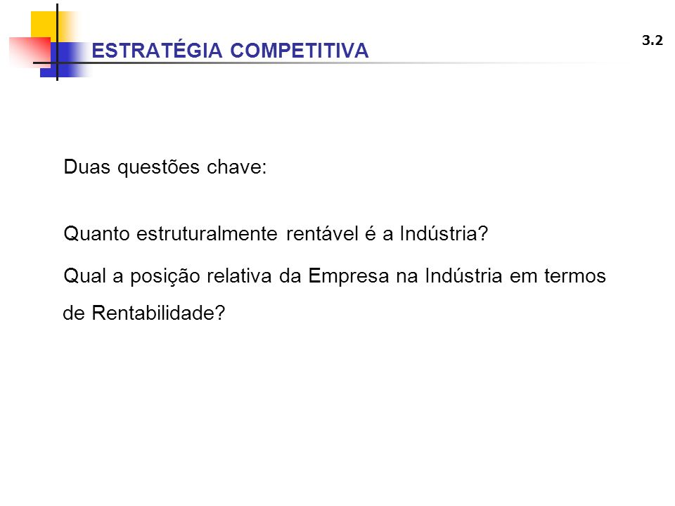 3.2 ESTRATÉGIA COMPETITIVA Duas questões chave: Quanto estruturalmente rentável é a Indústria? Qual a posição relativa da Empresa na Indústria em term