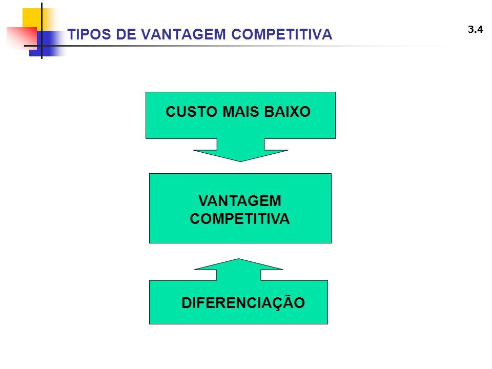 3.4 TIPOS DE VANTAGEM COMPETITIVA CUSTO MAIS BAIXO DIFERENCIAÇÃO VANTAGEM COMPETITIVA