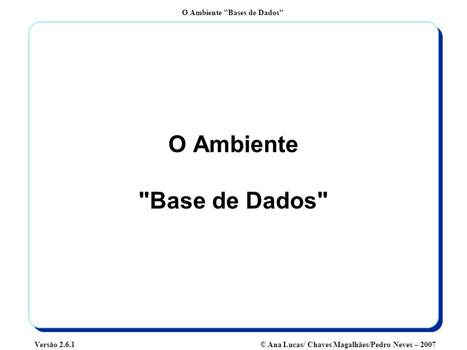 O Ambiente Bases de Dados © Ana Lucas/ Chaves Magalhães/Pedro Neves – 2007Versão 2.6.1 Componentes do Ambiente Base de Dados Equipas de Desenvolvimento Administradores de Dados Administradores de Bases de Dados Utilizadores Dicionário de Dados Ferramentas CASE Catálogo Aplicações Base de Dados SGBD SGBD User Interface Adaptado de McFadden,Hoffer, Prescott (1999) Geradores de SQL