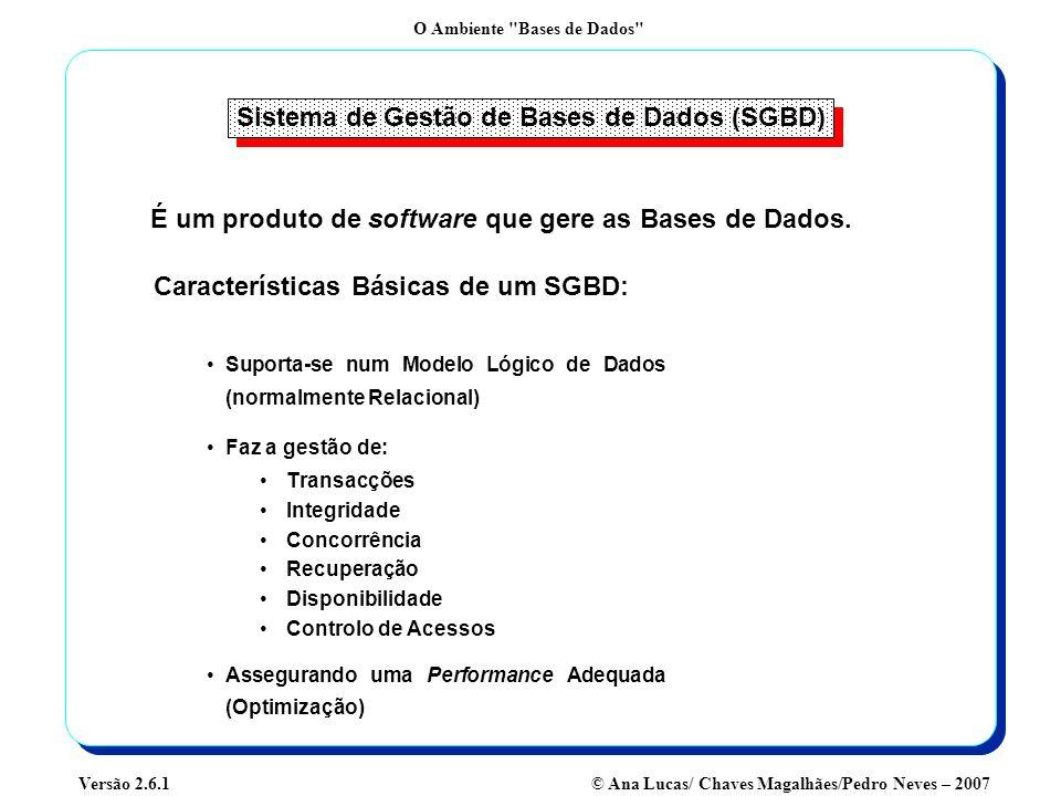 O Ambiente Bases de Dados © Ana Lucas/ Chaves Magalhães/Pedro Neves – 2007Versão 2.6.1 Evolução dos SGBD 1960s1970s1980s1990s2000+ Ficheiros Tradicionais SGBD Hierárquicos SGBD em Rede SGBD Relacionais Universais SGBD Relacionais SGBD Object Oriented SGBD Multidimensionais SGBD Relational-Object
