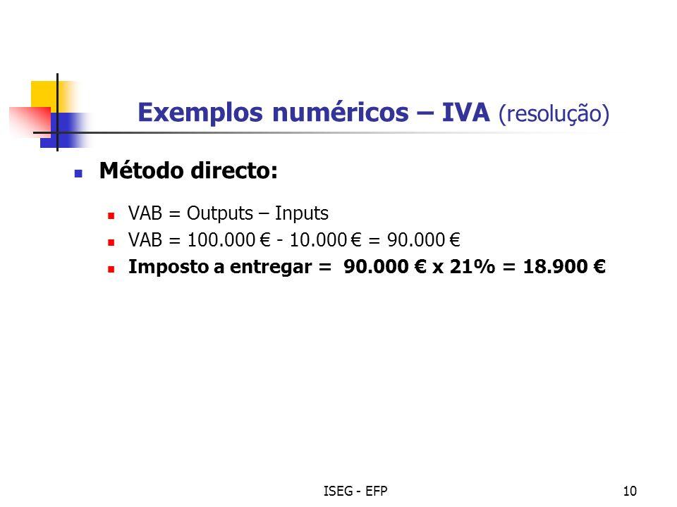 ISEG - EFP10 Exemplos numéricos – IVA (resolução) Método directo: VAB = Outputs – Inputs VAB = 100.000 - 10.000 = 90.000 Imposto a entregar = 90.000 x 21% = 18.900