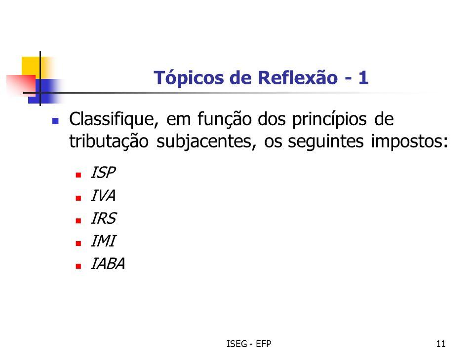 ISEG - EFP11 Tópicos de Reflexão - 1 Classifique, em função dos princípios de tributação subjacentes, os seguintes impostos: ISP IVA IRS IMI IABA