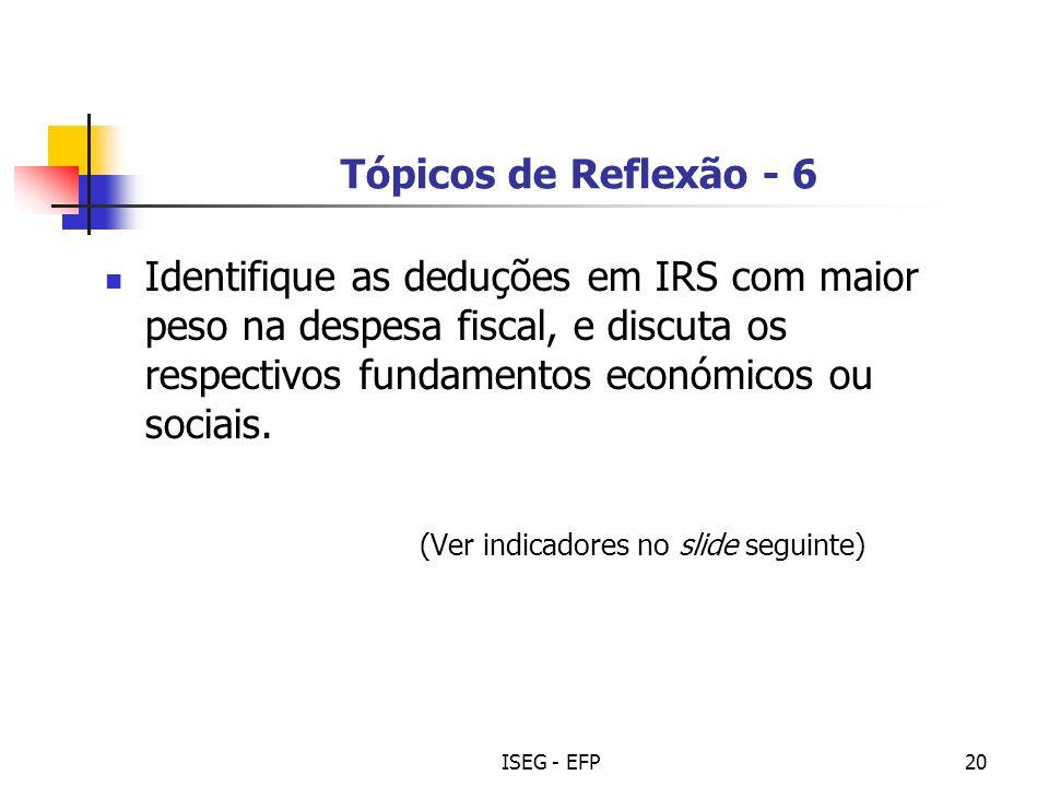 ISEG - EFP20 Tópicos de Reflexão - 6 Identifique as deduções em IRS com maior peso na despesa fiscal, e discuta os respectivos fundamentos económicos ou sociais.