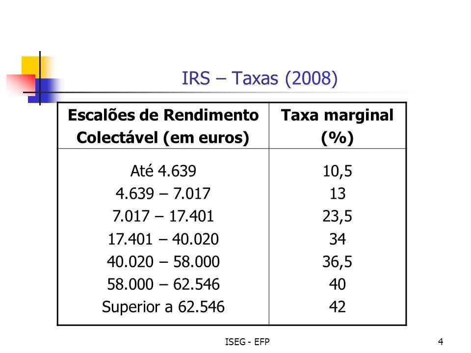 ISEG - EFP5 IRS – resolução a) Imposto = (4.639 x 10,5%) + [ (7.017 – 4.639) x 13% ] + [(12.000 – 7.017) x 23,5%] = = 1.967,24 (colecta) Taxa média: Colecta/Rendimento 1.967,24/12.000,00 = 0,1639 (~16%)