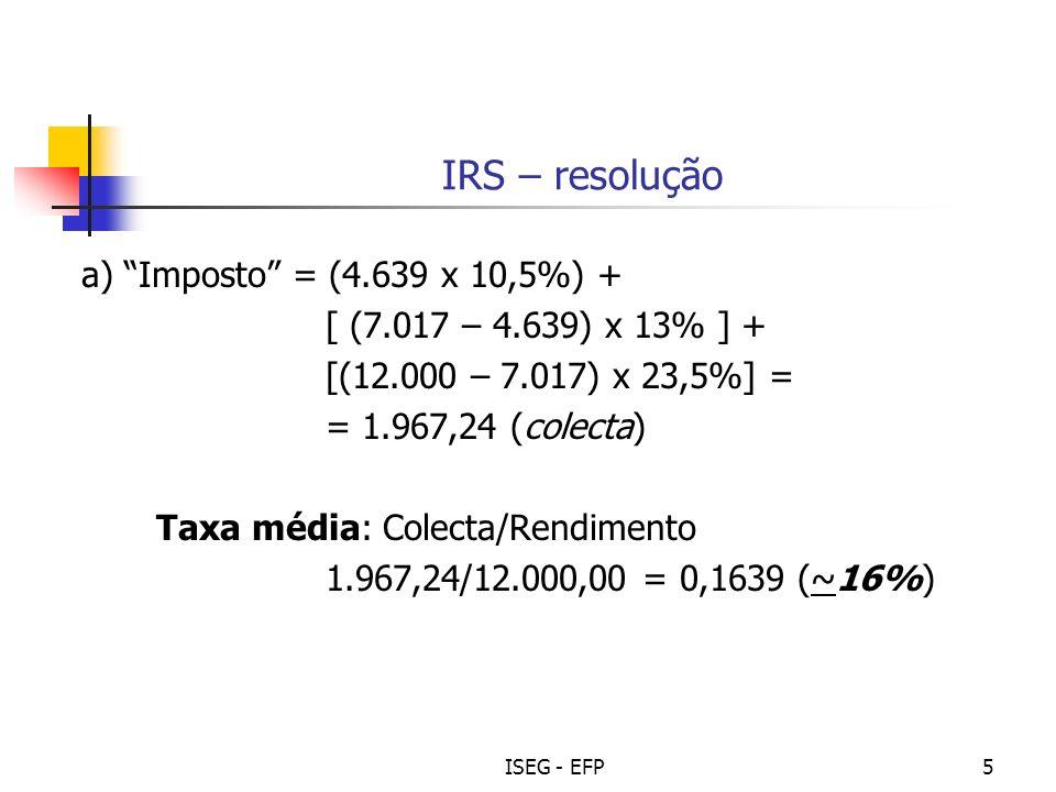 ISEG - EFP16 Tópicos de Reflexão - 4 Compare a estrutura fiscal em Portugal e na UE (média não ponderada) (Ver indicadores no slide seguinte)