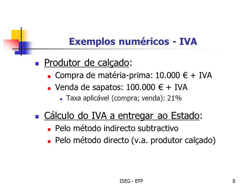 ISEG - EFP9 Exemplos numéricos – IVA (resolução) Método indirecto subtractivo: Compra (mat.-prima): 10.000 + 2.100 (IVA) = 12.100 Venda (sapatos): 100.000 + 21.000 (IVA) = 121.000 IVA liquidado/cobrado: 21.000 IVA suportado/pago: 2.100 IVA a entregar: 18.900
