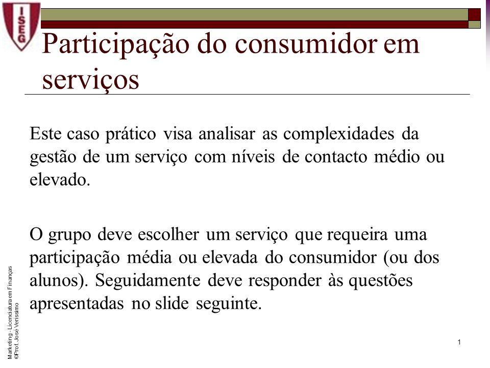 0 Marketing Caso Prático Livre (Marketing de Serviços) Prof. José M. Veríssimo
