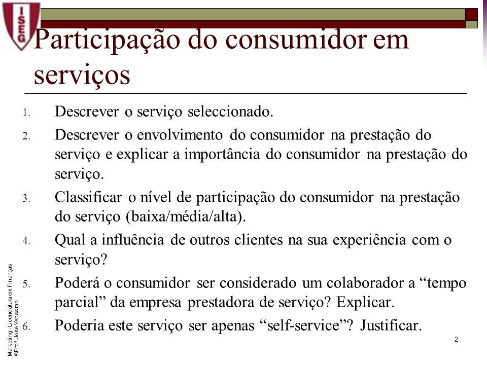 Marketing - Licenciatura em Finanças © Prof. José Veríssimo 1 Participação do consumidor em serviços Este caso prático visa analisar as complexidades