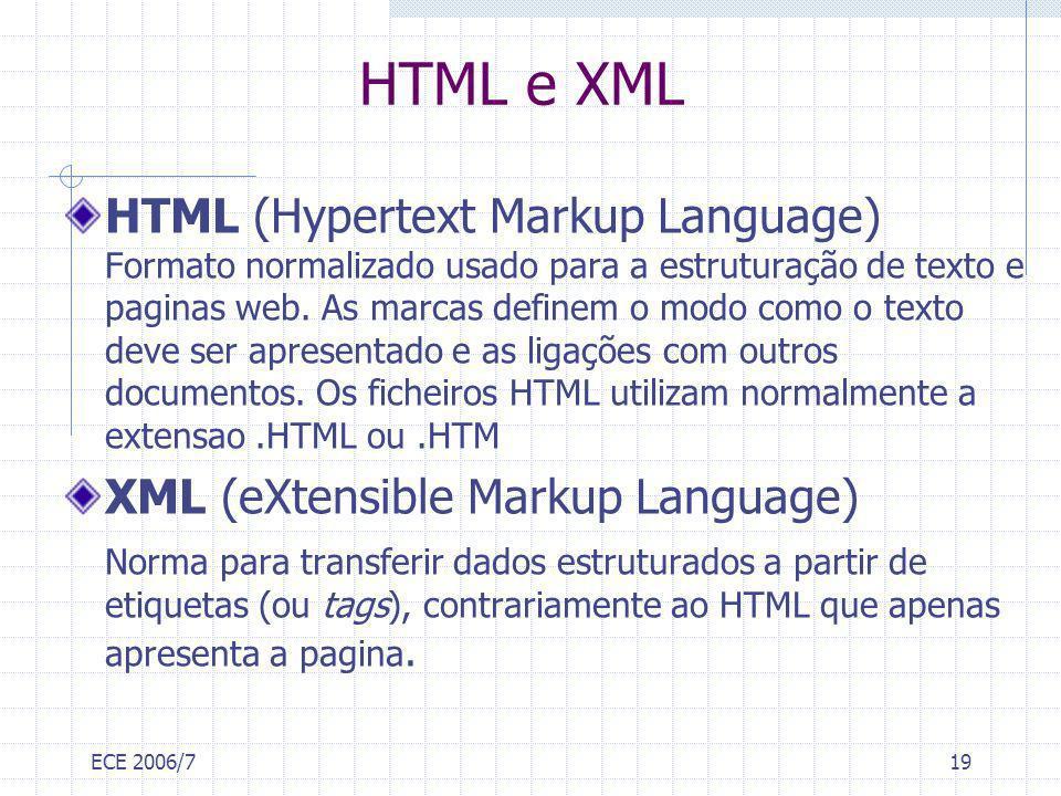 ECE 2006/719 HTML e XML HTML (Hypertext Markup Language) Formato normalizado usado para a estruturação de texto e paginas web. As marcas definem o mod