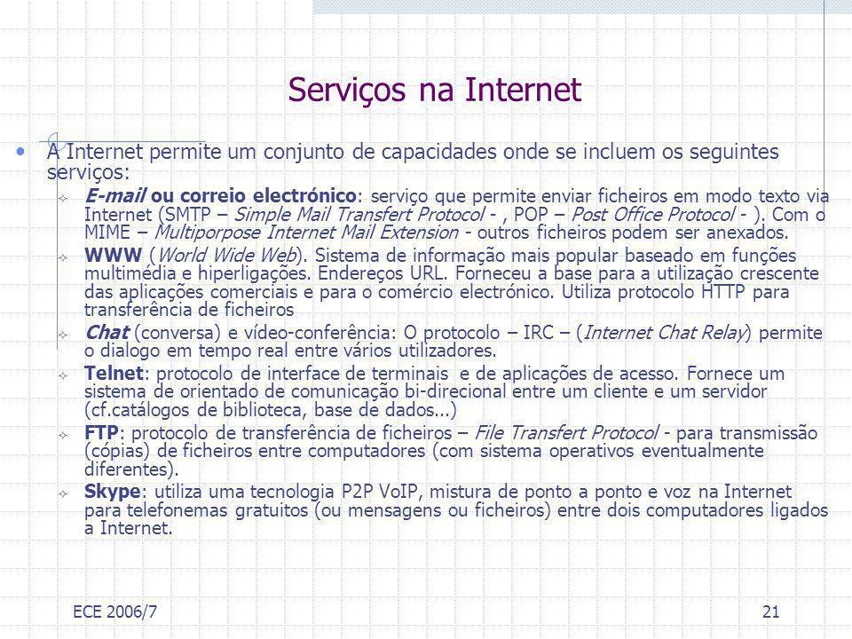 ECE 2006/721 Serviços na Internet A Internet permite um conjunto de capacidades onde se incluem os seguintes serviços: E-mail ou correio electrónico:
