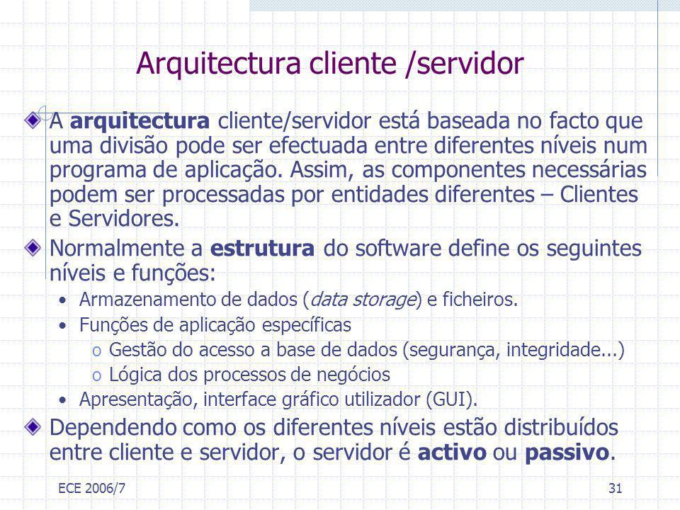 ECE 2006/731 Arquitectura cliente /servidor A arquitectura cliente/servidor está baseada no facto que uma divisão pode ser efectuada entre diferentes