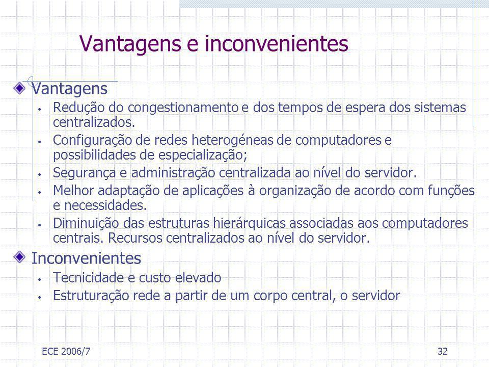 ECE 2006/732 Vantagens e inconvenientes Vantagens Redução do congestionamento e dos tempos de espera dos sistemas centralizados. Configuração de redes