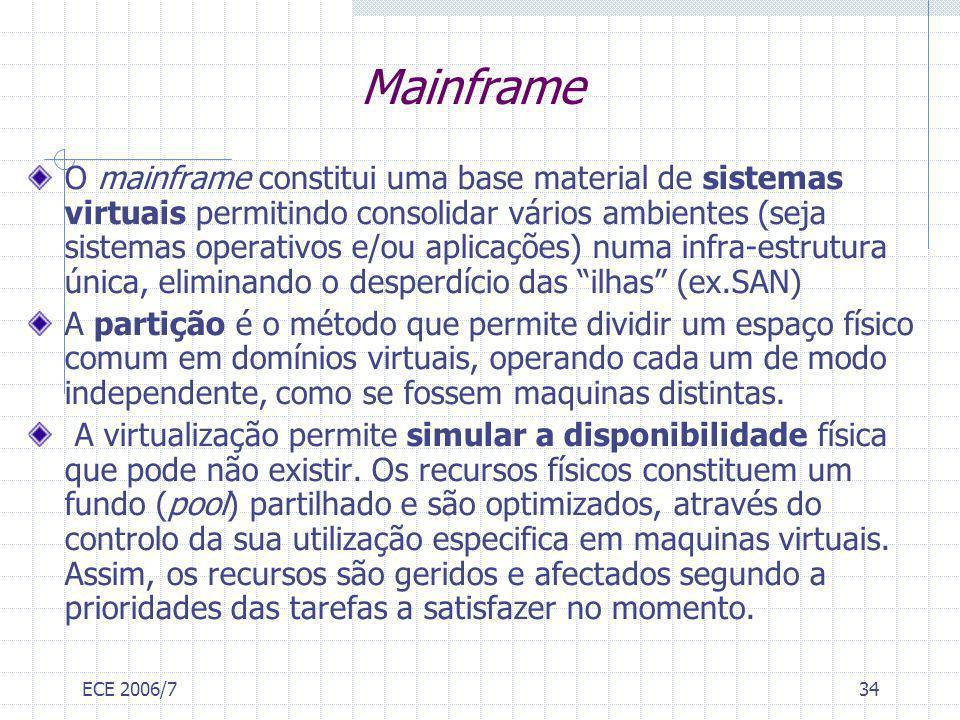 ECE 2006/734 Mainframe O mainframe constitui uma base material de sistemas virtuais permitindo consolidar vários ambientes (seja sistemas operativos e