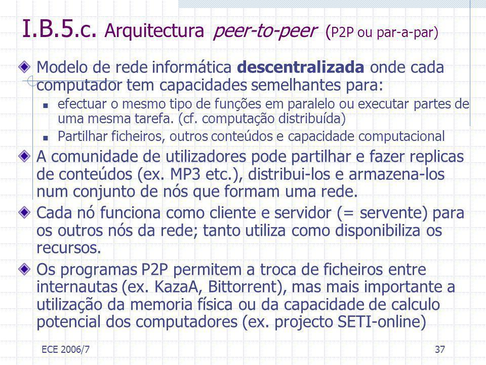 ECE 2006/737 I.B.5.c. Arquitectura peer-to-peer ( P2P ou par-a-par) Modelo de rede informática descentralizada onde cada computador tem capacidades se