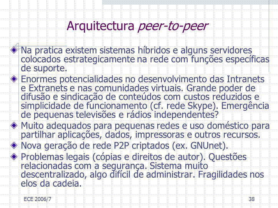 ECE 2006/738 Arquitectura peer-to-peer Na pratica existem sistemas híbridos e alguns servidores colocados estrategicamente na rede com funções específ